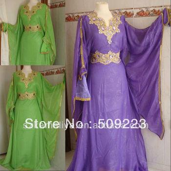 Nueva llegada 2013 barato joya árabe Dubai ABAYA KAFTAN verde púrpura de manga larga con moldeado de noche viste el vestido de baile vestido