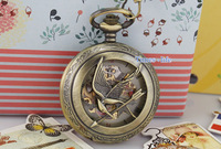 Engraved Bird Arrow Unisex Pocket Watch Gold Skeleton Roman Beige Case Vintage Black Hand IW3380