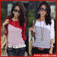 free shipping 10% OFF SALE  ldaies' FASHION casual shirt long-sleeved T-shirt round collar stripe cotton t shirts Women WA011
