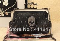 Free shipping 2012 female bags gem skull ring bag