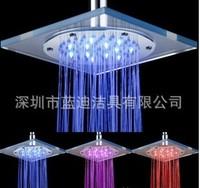 LED Shower  Bathroom Shower Set  the transparent square of glass top spray Temperature change electroplating