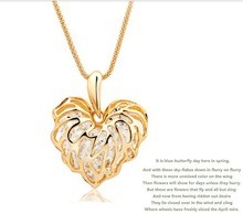 New arrival ! Retro luxurious hollow out golden love leaves zircon necklace .12pcs/lot.free shipping