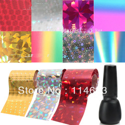Combo Discount !New Nail Art Transfer Foils Set Free Adhesive Acrylic Gel System Tips Decoration(China (Mainland))