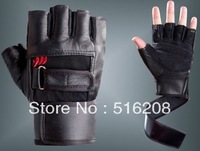 Q631 Bracers sports gloves genuine leather fitness non - slip Exercise men half-finger gloves Free Shipping