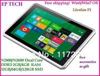 Free shipping!! mini laptop 32/64-bit  Tablet PC Win7/Win8 OS Atom N2800/N2600 Dual Core 1.86GHz  3G 2/4G RAM 32/64/128G SSD