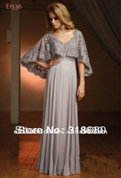 Elegant Column Scalloped-Edge Neckline Off the Shoulder Sleeves Gray Lace Dress Mother Of The Bride