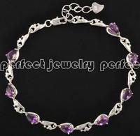 Chain bracelet Natural amethyst 925 silver chain bracelets ,purple gem stone jewelry Free shipping Wholesales Retails