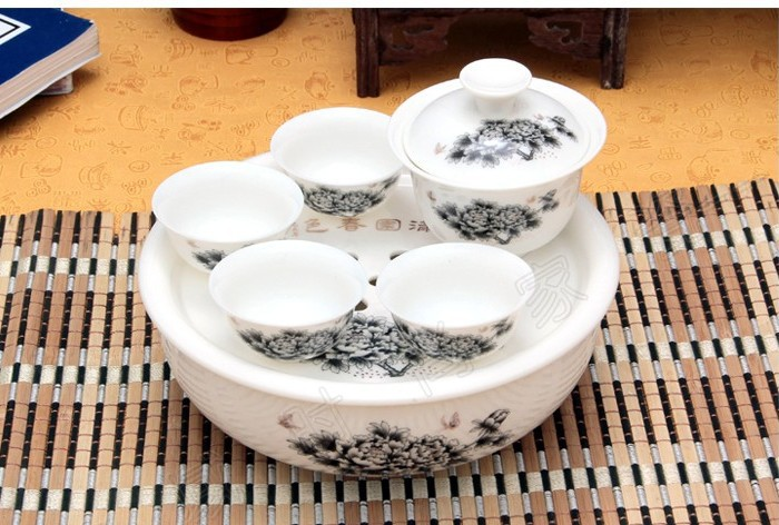 Special garden excellent peony flower porcelain tea set of ceramic Kung Fu tea tray travel free