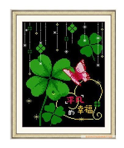 Flowers Series Hanging Wall Pictures Living Room Bedroom Study Room Clover Ordinary Happiness End Product Without Frame Handmade(China (Mainland))