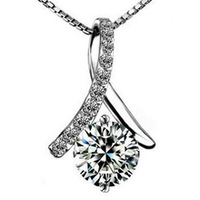 100% pure 925 sterling silver platinum  crystal pendant necklace wedding jewelry GSN004