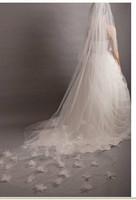 Free shipping ! Amazing illusion long wedding bridal veil with flowers
