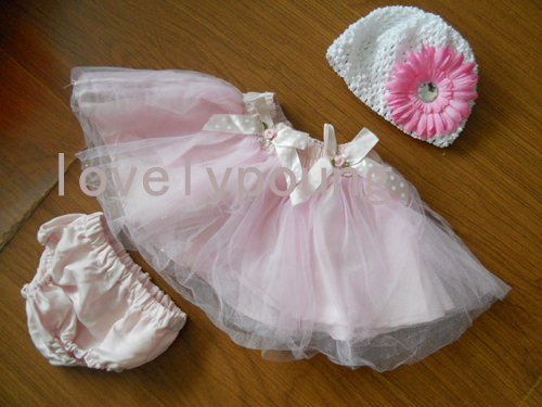 retail baby tutu sets baby birthday bloomer tutu 3pcs set skirt+botton+hat MOQ 1 set(China (Mainland))