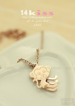 Three-dimensional koalas monkey circleof LACOSTE necklace 18k color gold rose gold female colnmnaris jewelry