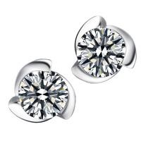 Wholesale 100% Pure 925 Sterling Silver clear  stud earrings fashion women jewelry YA1455