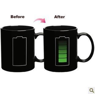 Battery Color Changing Cup Amazing Ceramic Cup Coffee Cup Temperature Changing Free shipping+Drop shipping(China (Mainland))