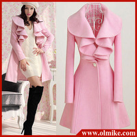 Wholesale free shipping autumn & winter women's new long frill wool coat woolen overcoat for lady Pink Black M L XL XXL