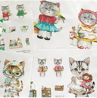 Free Shipping Linen Cotton Fabrics Lovely Rummi Cats Zakka Style 140cm*40cm B201306