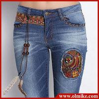 Wholesale free shipping women's FASHION embroidery mill white slim pencil pants worn out denim pant jeans autumn lady blue WA023