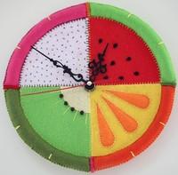 Handmade DIY Fruit wall clock,Polypropylene nonwoven fabric Handmade DIY clocks,Via free shipping