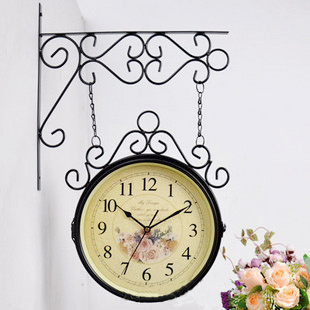 Fashion rustic wrought iron double faced clock home decoration clock fashion Large double faced clock