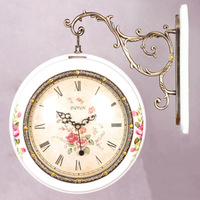 Fashion antique clocks quality solid wood double faced clock double faced clock white