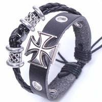 valentine's day Gift BA026 Genuine Leather Cross Charm Bracelet Bangle Adjustable Wristband men