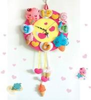 Handmade DIY Refreshing ice cream wall clock,Polypropylene nonwoven fabric Handmade DIY clocks,Via free shipping