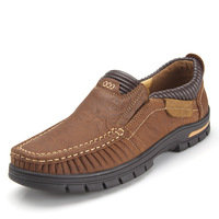 slip on & lace up new office casual man genuine leather shoes mens fashion plus size 37 - 47 (Light Brown, Khaki) free shipping