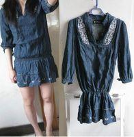 Fashion blanco . three quarter sleeve elastic waist embroidery personalized denim skirt shirt