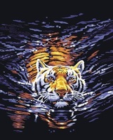 Diy digital oil painting on canvas decorative oil painting by numbers with frame 40 50  tiger in river