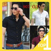 Drop shipping! free shipping!  New 2013  korean short sleeve men's shirts in 5 coors with popular style C09 (12.31)