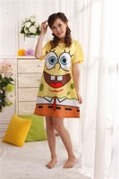 Free Shipping , Women's short Sleeve Cartoon Night skirt Nightgowns / SpongeBob SquarePants