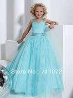 Promotion beautiful Lovely A Line floor Length Sweetheart Spaghetti strap Light Blue Tulle Flower Girl Dress