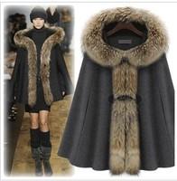 Maternity maternity winter outerwear raccoon fur cloak overcoat woolen outerwear maternity clothing cape woolen