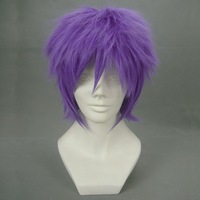 Purple short broken purple cos wig 053e