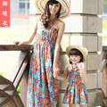 Family fashion clothes for mother and daughter set summer 100% cotton bohemia full dress spaghetti strap full dress one-piece