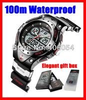 PASNEW multifunction sport watch waterproof Dual movements Date Alarm business style dive wristwatch for men gift box packing