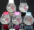 HOT- 2013 Hotsale Fashion hello kitty Wrist Watch Red Leather watch Children women ladies KT001-2