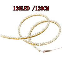 Free shipping 10PCS 120cm 120LED PVC Flexible LED Strip Light Waterproof for Car Motorcycle