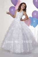 Free Shipping Custom Made ball Gown Halter Floor Length organza beaded Crystle white Flower Girl Dress 2013