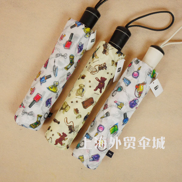 Limited edition bear perfume leather handle automatic umbrella sun umbrella folding umbrella(China (Mainland))