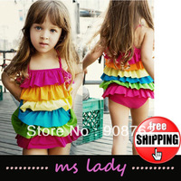Free Shipping HOT SALE Rainbow stripes girls swimwear multi-level swimsuit For 2-9 years HK Airmail
