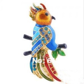 Fashion gold plating woodpecker inlay rhinestone enamel alloy pendant