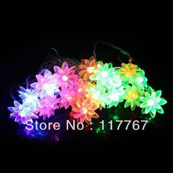 20 LEDS 4M String Fairy Lights Lotus Shape Christmas Xmas Garland decoration Wedding party Decor-COLORFUL 630001