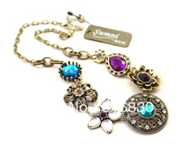 HOT!! 2013 New Free shipping Vintage Hollow Facet Bling Rhinestone Flower Women Choker Necklace Christmas Gift