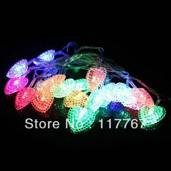 20 LEDS 4M String Fairy Lights Heart Shape  Christmas Xmas Garland decoration Wedding party Decor-COLORFUL 630004