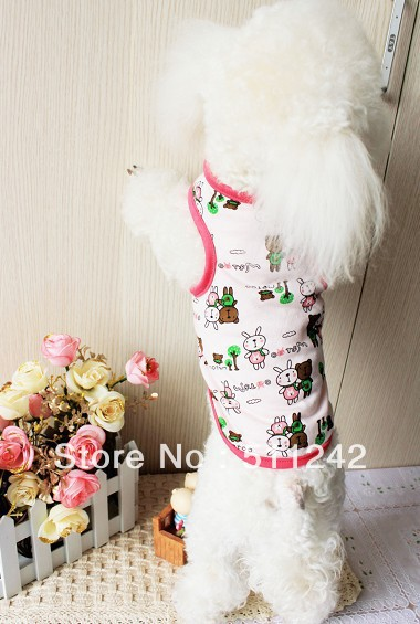 5Pcs/Lot Free Shipping Cheap Price 100% Cotton Dog Cute Rabbit Pet Clothes Cool Summer Dog Apparel Lovely Pet T-shirt Vests(China (Mainland))