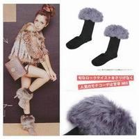 Long fur roll up hem snow autumn and winter sock socks knee-high socks 4
