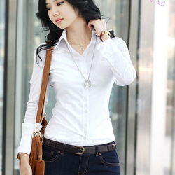 [Cerlony]Free Shipping 2013 New Fashion Women's Long Sleeve Cotton Blouse Ladies' Shirt Sexy Casual Tee Tops Slim Fit Stylish(China (Mainland))