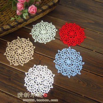 wholesale cotton hand made crochet doily, round cup mat 10cm crochet applique 40pcs/lot 12colors to choose